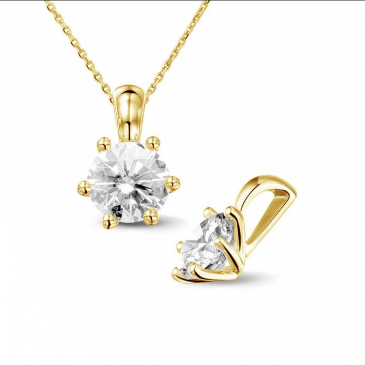 1.25 caraat solitaire hanger in geel goud met ronde diamant