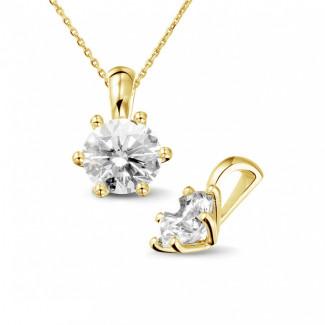 1.50 caraat solitaire hanger in geel goud met ronde diamant