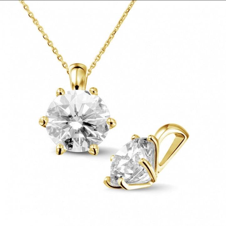 2.50 karaat solitaire hanger in geel goud met ronde diamant