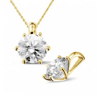 3.00 caraat solitaire hanger in geel goud met ronde diamant