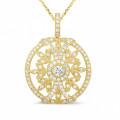 0.90 caraat diamanten hanger in geel goud