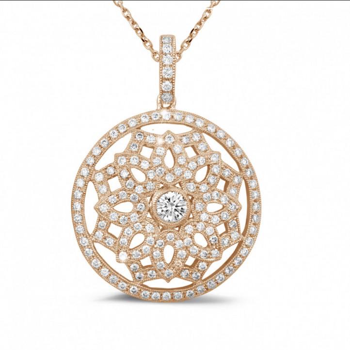 1.10 karaat diamanten hanger in rood goud