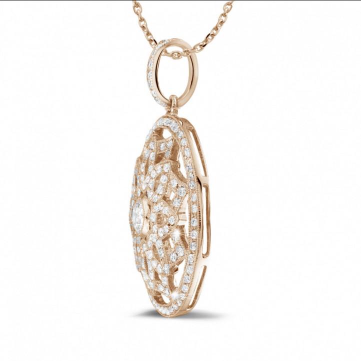1.10 caraat diamanten hanger in rood goud