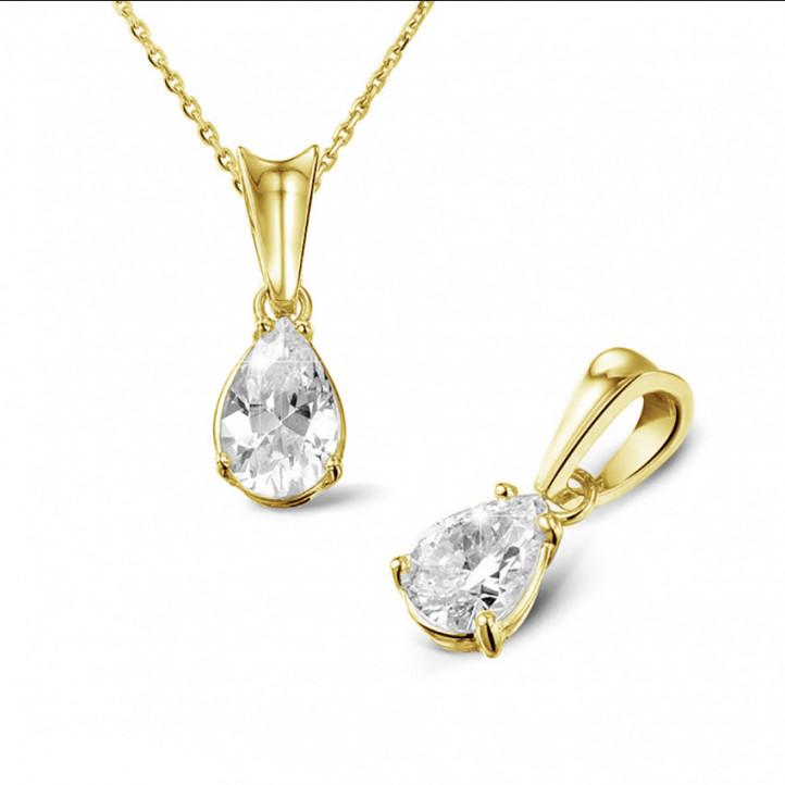 0.75 karaat solitaire hanger in geel goud met peervormige diamant