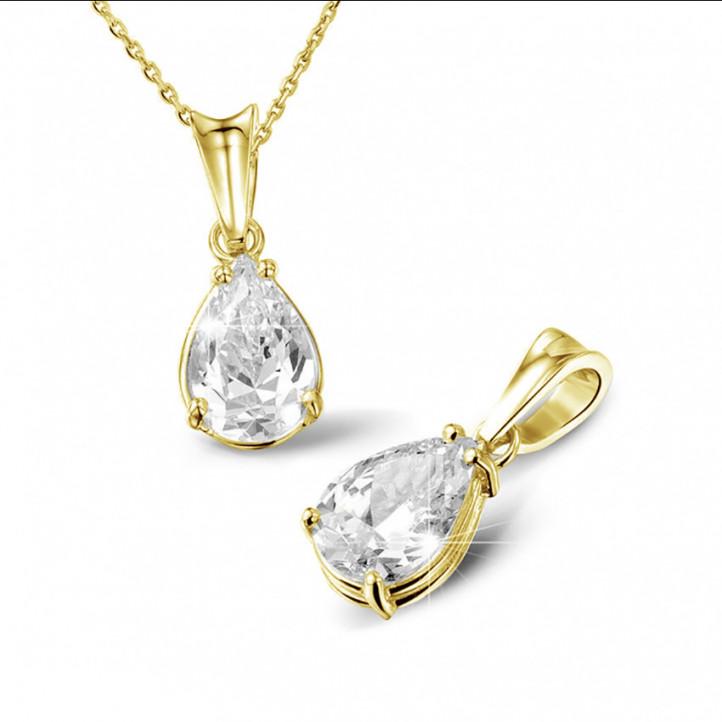 1.25 caraat solitaire hanger in geel goud met peervormige diamant
