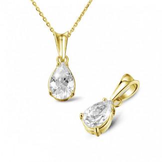 1.50 caraat solitaire hanger in geel goud met peervormige diamant