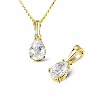 - 1.50 karaat solitaire hanger in geel goud met peervormige diamant