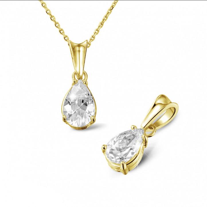1.50 karaat solitaire hanger in geel goud met peervormige diamant