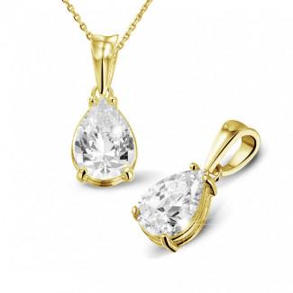 2.50 caraat solitaire hanger in geel goud met peervormige diamant