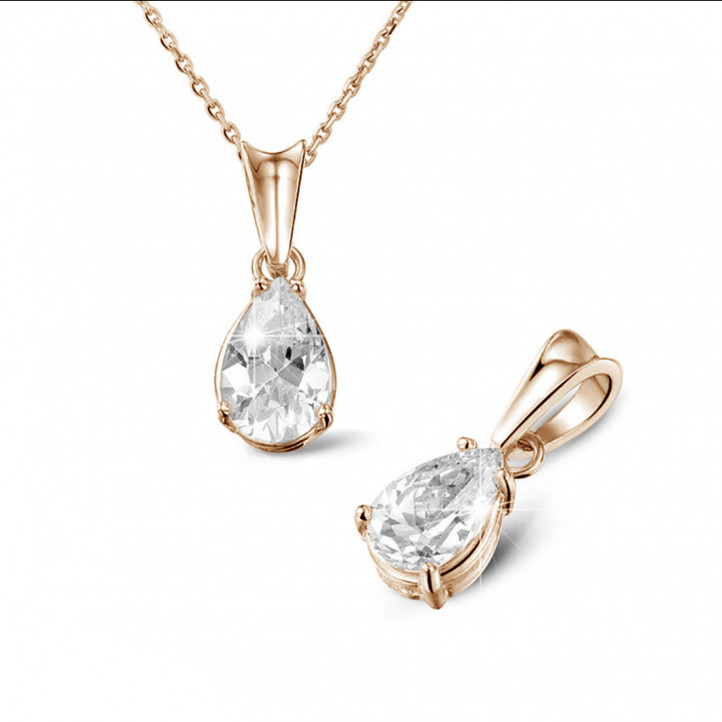 1.50 caraat solitaire hanger in rood goud met peervormige diamant