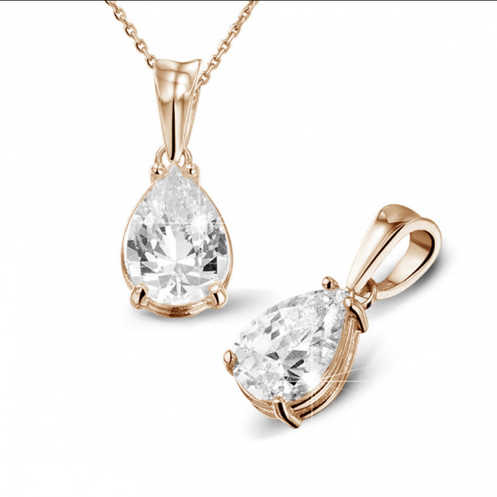 2.50 karaat solitaire hanger in rood goud met peervormige diamant