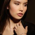 0.75 karaat trilogie diamanten hanger in rood goud