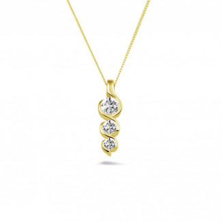 Geelgouden Diamanten Halskettingen - 0.57 caraat trilogie diamanten hanger in geel goud