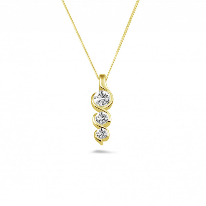 0.57 karaat trilogie diamanten hanger in geel goud