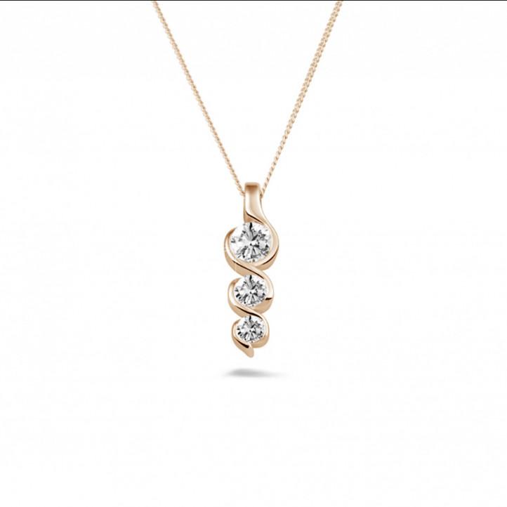0.57 karaat trilogie diamanten hanger in rood goud