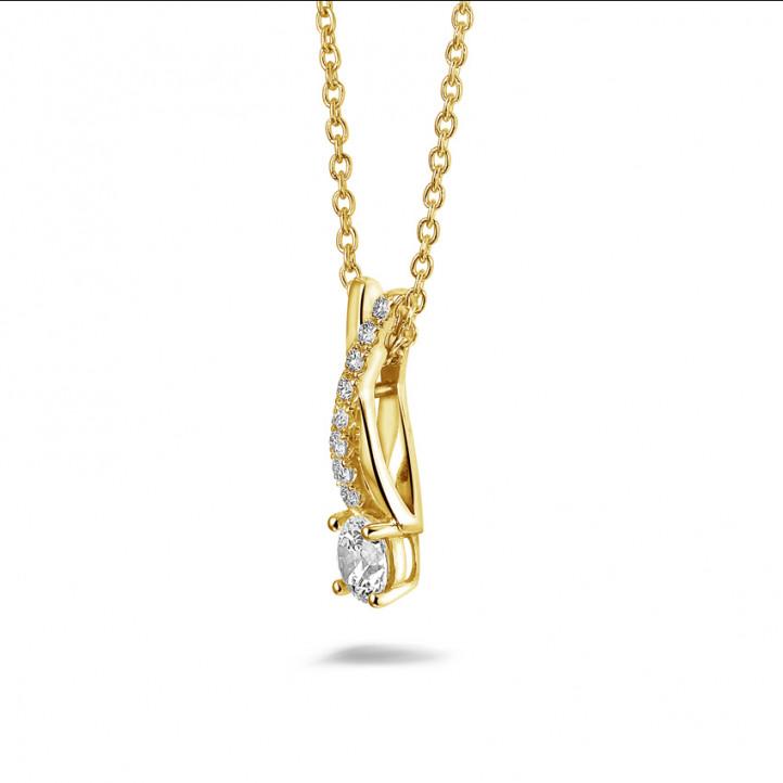 0.50 karaat diamanten kruis hanger in geel goud