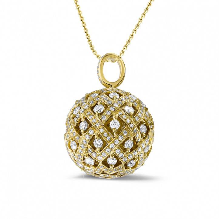 2.00 caraat diamanten hanger in geel goud
