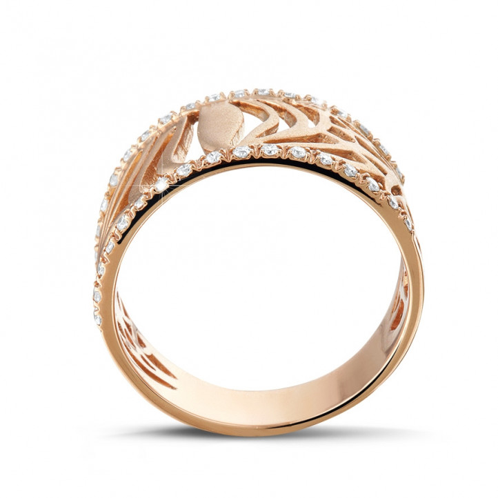 0.17 karaat diamanten design ring in rood goud