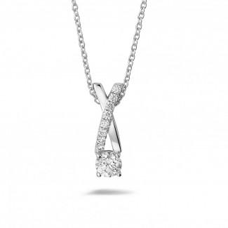 Witgouden Diamanten Halskettingen - 0.50 caraat diamanten kruis hanger in wit goud