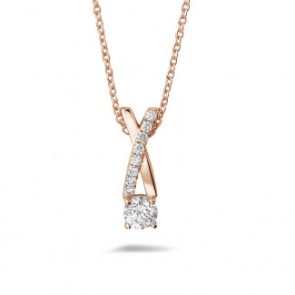 Roodgouden Diamanten Halskettingen - 0.50 caraat diamanten kruis hanger in rood goud