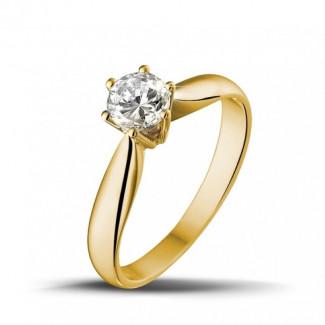 - 0.50 karaat diamanten solitaire ring in geel goud