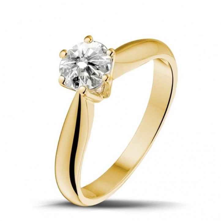 0.75 caraat diamanten solitaire ring in geel goud