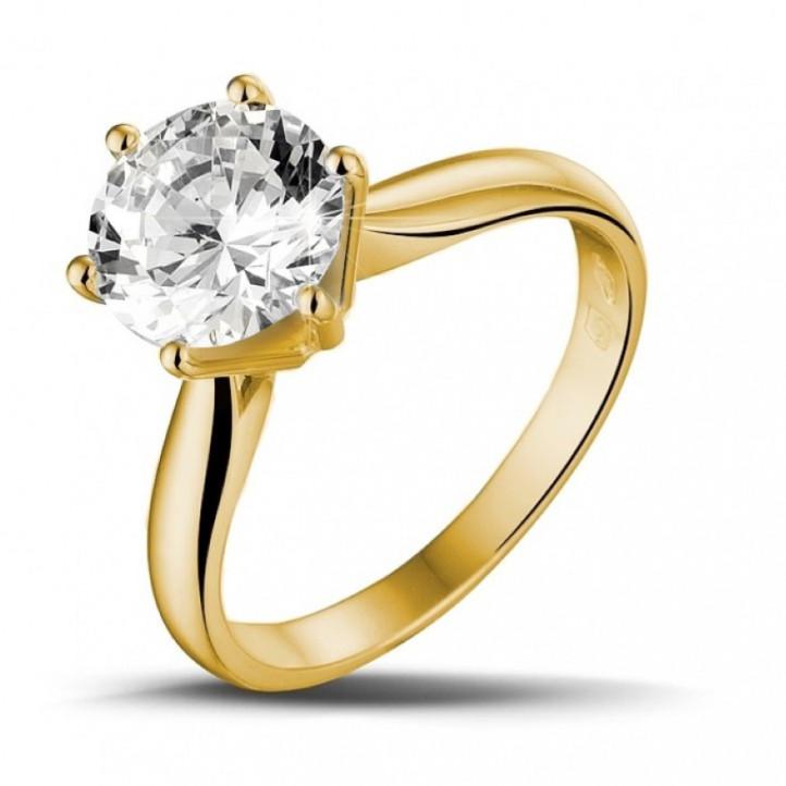 2.50 karaat diamanten solitaire ring in geel goud