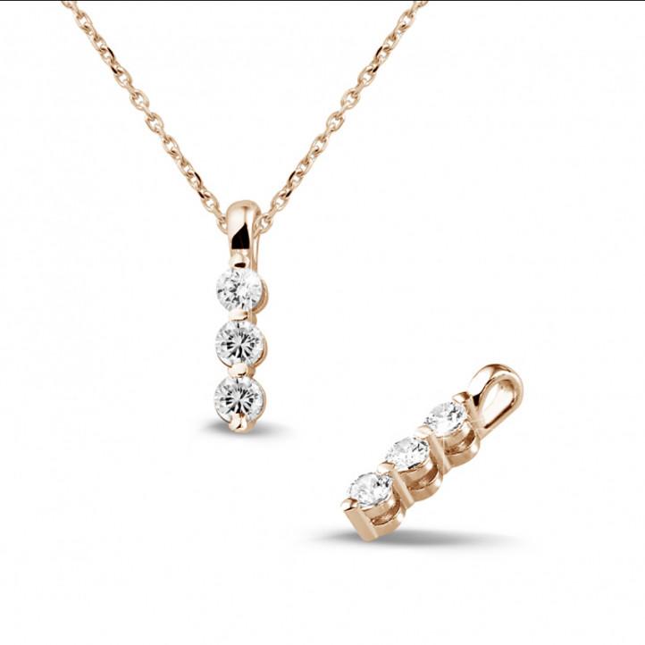 0.30 caraat trilogie diamanten hanger in rood goud