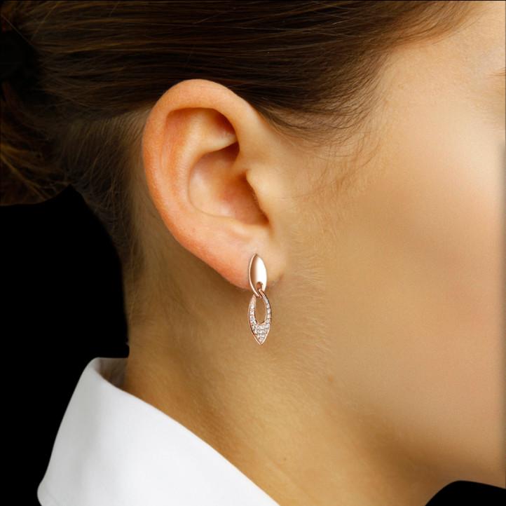 0.27 karaat diamanten oorbellen in rood goud