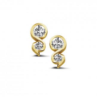 0.44 karaat diamanten oorbellen in geel goud