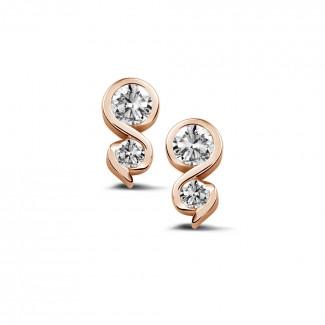 0.44 karaat diamanten oorbellen in rood goud