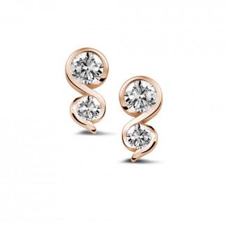 0.70 caraat diamanten oorbellen in rood goud