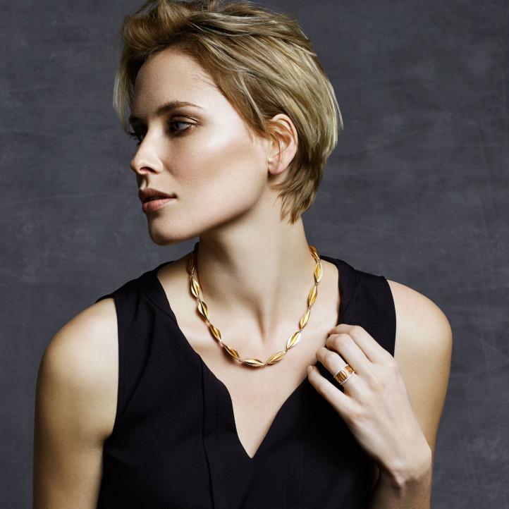 0.20 karaat diamanten design halsketting in rood goud