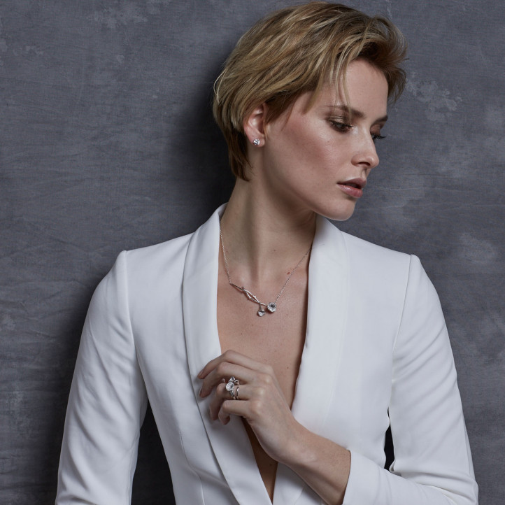 0.73 caraat diamanten design halsketting in wit goud