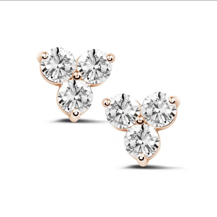 2.00 karaat diamanten trilogie oorbellen in rood goud