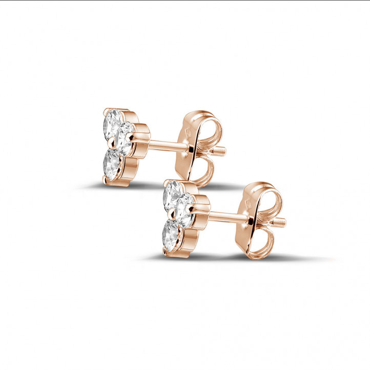 0.60 caraat diamanten trilogie oorbellen in rood goud