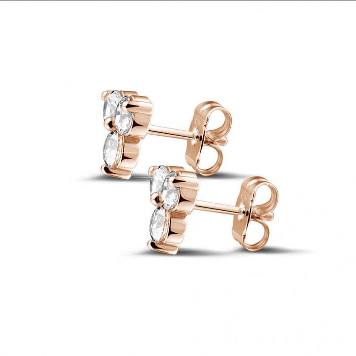 1.20 karaat diamanten trilogie oorbellen in rood goud