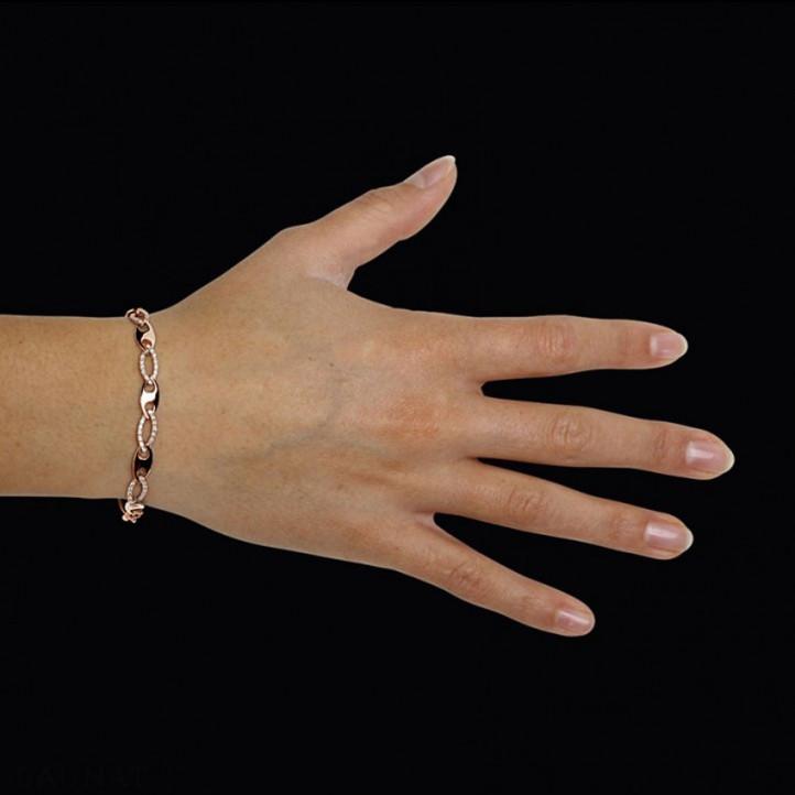 0.88 caraat diamanten schakelarmband in rood goud