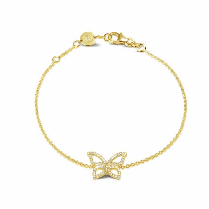 0.30 caraat diamanten design vlinder armband in geel goud