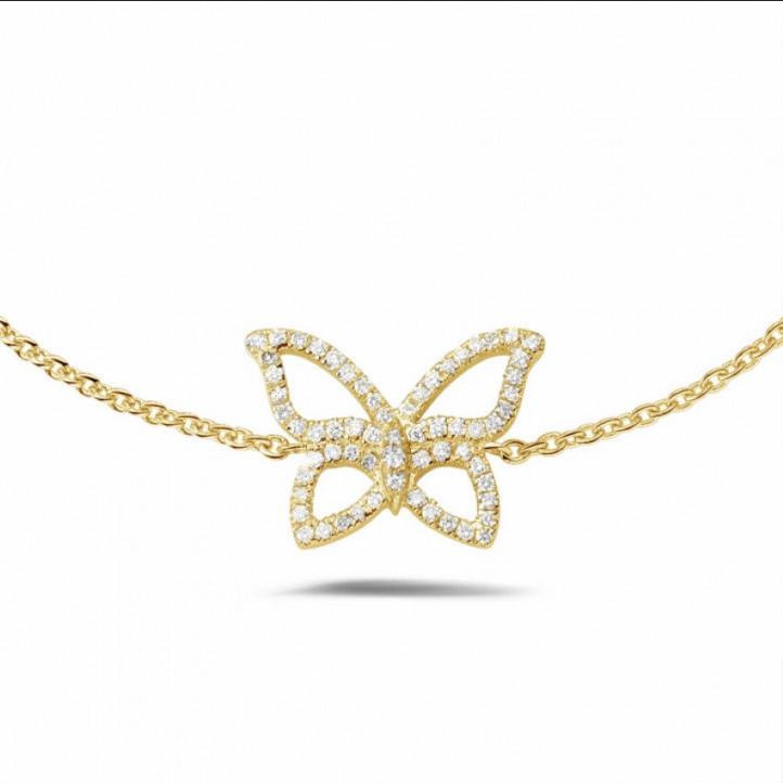 0.30 karaat diamanten design vlinder armband in geel goud
