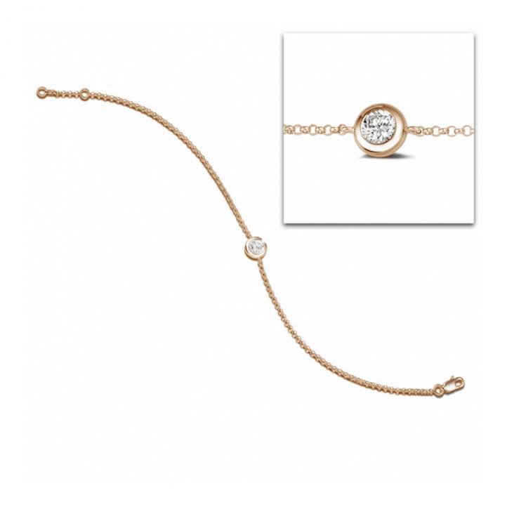 0.30 karaat diamanten satelliet armband in rood goud