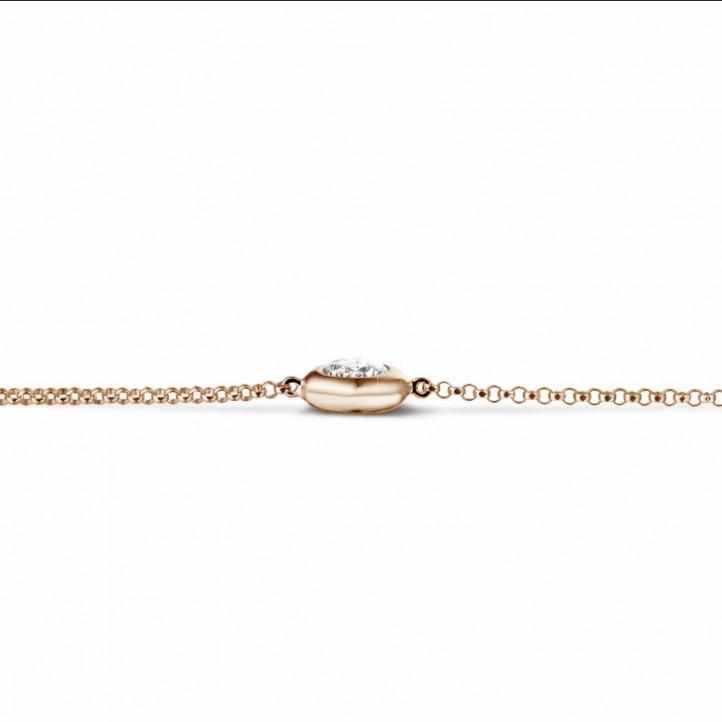 0.50 caraat diamanten satelliet armband in rood goud