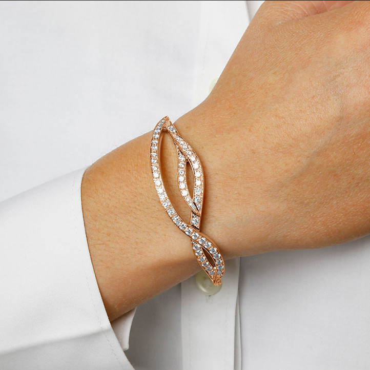 3.86 karaat diamanten design armband in rood goud
