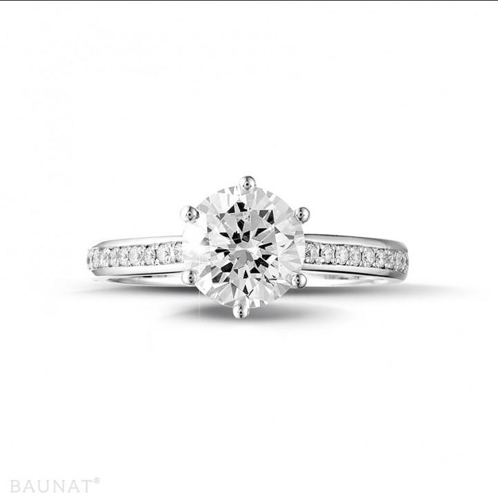 1.50 caraat diamanten solitaire ring in platina met zijdiamanten