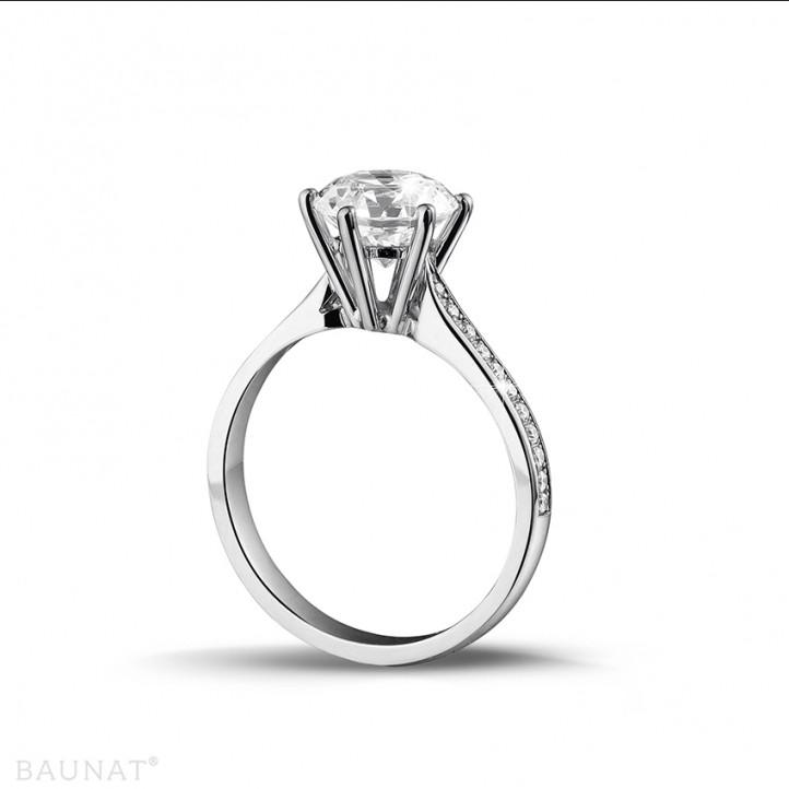 2.00 karaat diamanten solitaire ring in platina met zijdiamanten