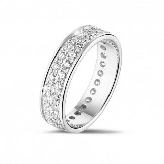 Witgouden diamanten trouwringen en alliances - 1.15 karaat alliance (volledig rondom gezet) in wit goud met twee rijen ronde diamanten