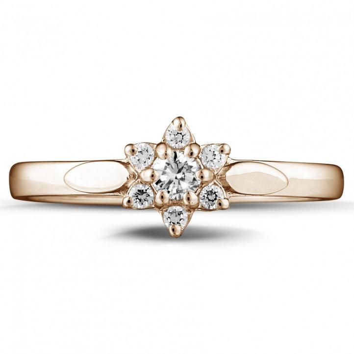 0.15 caraat diamanten bloemenring in rood goud