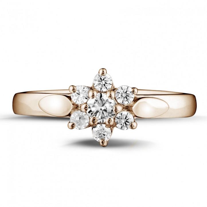0.30 karaat diamanten bloemenring in rood goud