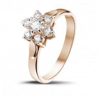 0.50 karaat diamanten bloemenring in rood goud