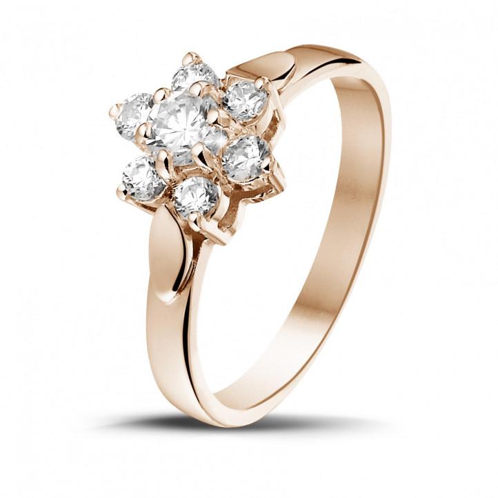 0.50 caraat diamanten bloemenring in rood goud